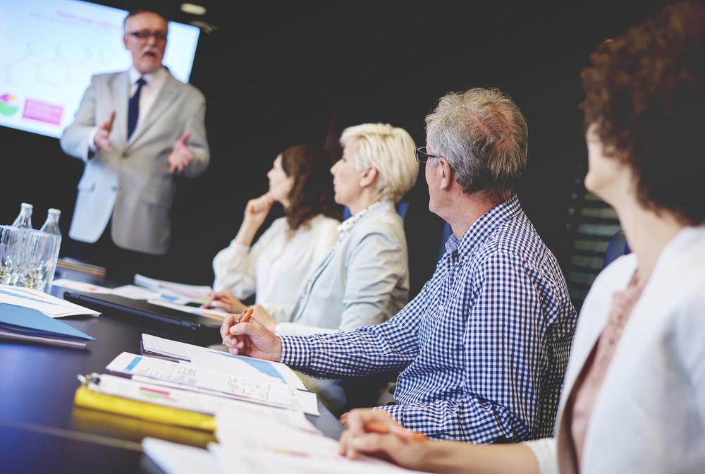 Man making presentation during a meeting.