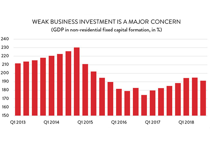 Weak business investment is a major concern.